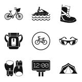 Sport weekend icons set, simple style. Sport weekend icons set. Simple set of 9 sport weekend vector icons for web isolated on white background Stock Photos