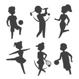 Sport wellness vector people characters silhouette sporting man activity woman sporty athletic illustration. Royalty Free Stock Photography