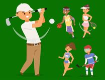 Sport wellness vector people characters sporting man activity woman sporty athletic illustration. Stock Photography