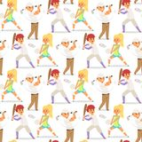 Sport wellness vector people characters sporting man activity woman sporty athletic seamless pattern background Stock Photos