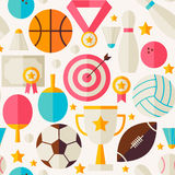 Sport-Wettbewerbs-Erholungs-Vektor-flaches nahtloses Muster Lizenzfreie Stockfotografie