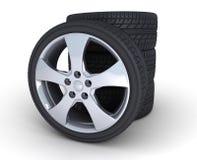 Sport wheel. Four motor car wheels on a white background Royalty Free Stock Photos