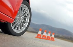 Sport wheel and cones Stock Images
