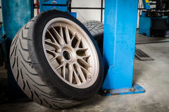 Sport wheel and tyre between maintenance hour Stock Photos
