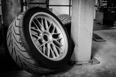 Sport wheel and tyre between maintenance hour in garage Stock Photos