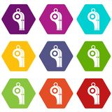 Sport whistle icon set color hexahedron Royalty Free Stock Photo