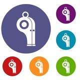 Sport whistle icons set Royalty Free Stock Image