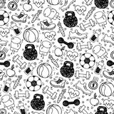 Sport white and black vector seamless pattern. Royalty Free Stock Photo