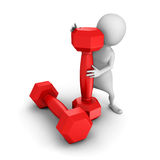 Sport white 3d man with red dumbbells Stock Photo