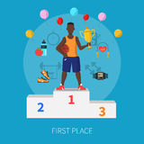 Sport Winner Concept. With first place symbols on blue background flat vector illustration Stock Photography