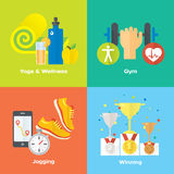 Sport winner concept flat icons of gym, healthy food, metrics. Illustration and modern design element Stock Photography