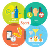 Sport winner concept flat icons of gym, healthy food, metrics. Royalty Free Stock Photography