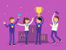 Sport winners celebrating their victory. Happiness people. Sport team award and winner, victory celebration. Vector illustration Royalty Free Stock Photos