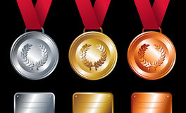 Sport winners: Gold, silver and bronze medals. Sport winning positions: Gold, silver and bronze medals with ribbon set background. Vector file layered for easy Stock Photo