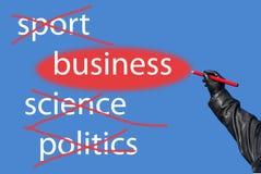 Sport? Wissenschaft? Politik? Geschäft! Stockfotografie