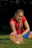 Sport and woman. Woman making of the sport in full nature Royalty Free Stock Image