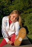 Sport and woman. Woman making of the sport in full nature Royalty Free Stock Photo