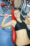 Sport woman. Young, beautiful woman in sport hall Stock Image