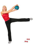 Sport woman with ball Royalty Free Stock Photography