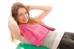 Sport woman with ball training the abs Stock Images