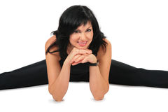 Sport woman in black Royalty Free Stock Photo