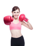 Sport woman is boxing Stock Photography