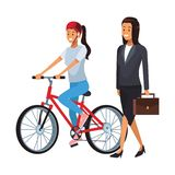 Sport woman and businesswoman. Riding bicicle vector illustration graphic design vector illustration