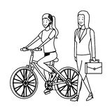 Sport woman and businesswoman black and white. Sport woman and businesswoman riding bicicle vector illustration graphic design royalty free illustration