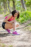 Sport woman with calf strain Stock Photography