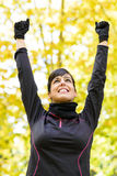 Sport woman celebrating victory Stock Photos
