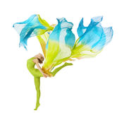 Sport woman dancing with flying fluttering fabric royalty free stock photos