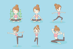 Sport woman do yoga. Cartoon sport woman do yoga on the blue background Stock Photography