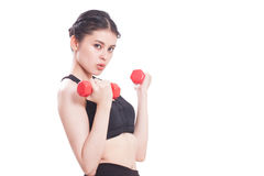 Sport woman doing exercise with lifting weights Stock Photo