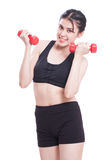 Sport woman doing exercise with lifting weights Stock Image