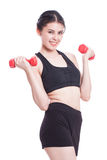Sport woman doing exercise with lifting weights Stock Photos