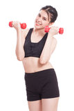 Sport woman doing exercise with lifting weights Stock Images