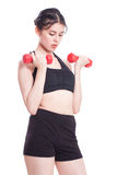 Sport woman doing exercise with lifting weights Stock Photography