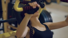 Sport woman doing exercises stock footage