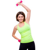 Sport woman doing side bends with dumbbells Royalty Free Stock Images