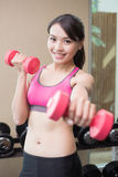 Sport woman with dumbbell Royalty Free Stock Image