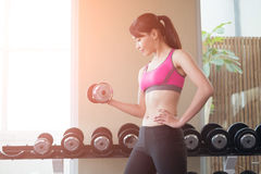 Sport woman with dumbbell. Sport woman hold dumbbell and training hard in the gym Stock Image