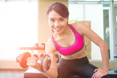 Sport woman with dumbbell Royalty Free Stock Photo