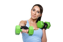 Sport woman with dumbbells Stock Photography