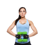 Sport woman with dumbbells Stock Image