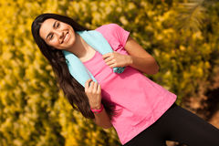 Sport woman enjoying after fitness session Stock Images