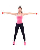 Sport woman exercise with dumbbells Royalty Free Stock Images
