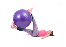 Sport woman exercise with a pilates ball Royalty Free Stock Photography