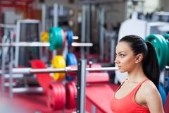 Sport woman exercising gym, fitness center Royalty Free Stock Images
