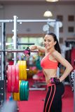 Sport woman exercising gym, fitness center Royalty Free Stock Photo