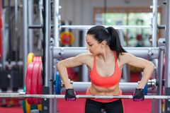 Sport woman exercising gym, fitness center Royalty Free Stock Photos